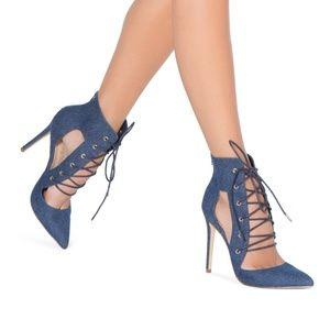 Shoe Dazzle Blue Denim High Heel Latie Size 11